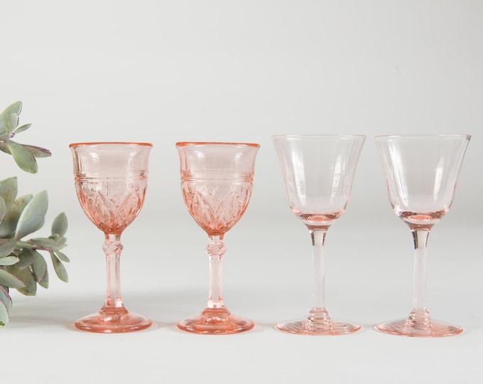 Antique Pink Glass Aperitif Glasses - Vintage Depression Era Glass Decor - 1930s Stemware