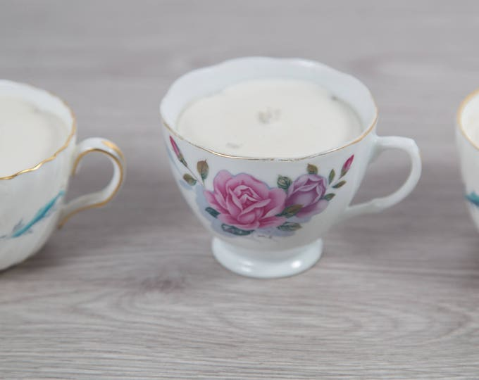 Soy Teacup Candles Set - 4 Hand Poured Candles in Tea Cups