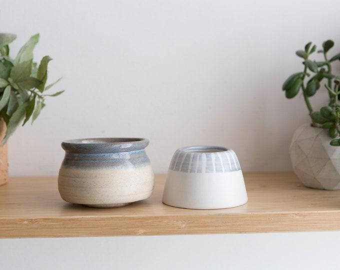 Handmade Ceramic Canisters - Painted Blue and White Vintage Boho Glaze Bubble Planters - Studio Pottery Earthtone Art