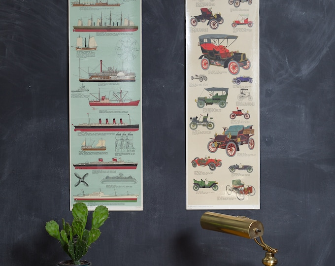 Vintage Ship and Car Chart - Idea and Design - Tre Tryckare Printed in Sweden - Antique Automobiles - Engine Powered Ships - Boats and Cars