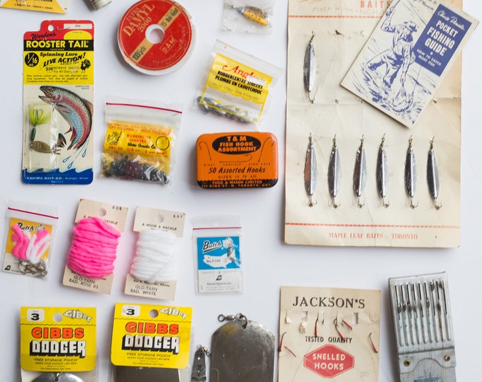 Vintage Fishing Tackle - Retro Fish Lures, Hooks, Dodgers, Lines, Baits - Canadian  Outdoor Cabin Decor