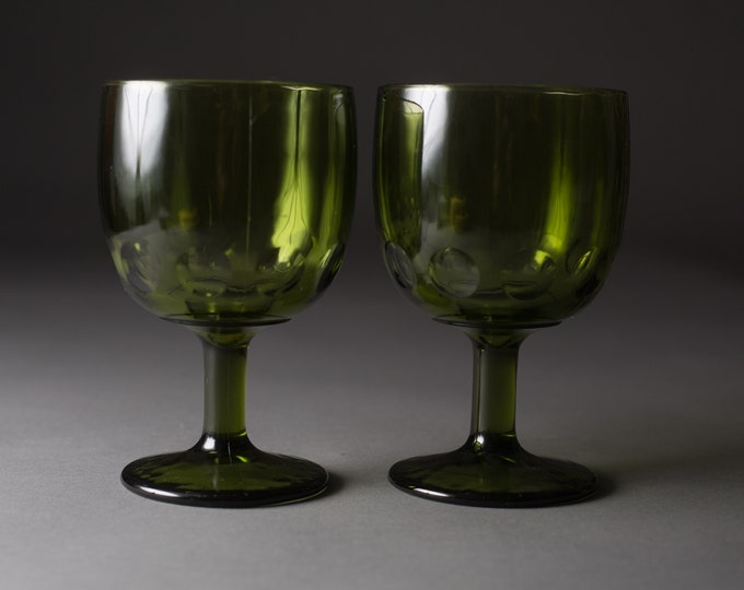 2 Green Goblets - 14oz Felton Vintage Water Glass - Thumbprint Cocktail Wine Retro Barware / Glassware / Stemware