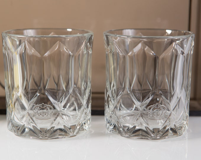 Pair Whisky Glasses - Vintage Crown Royal Glasses - Cocktail Glassware Drinking Lowball Glasses