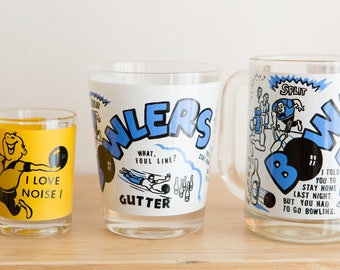 Vintage Cocktail Glasses, Beer Mug and Coasters - Bowlers Gutter Funny Humorous Novelty Tumbler Glassware