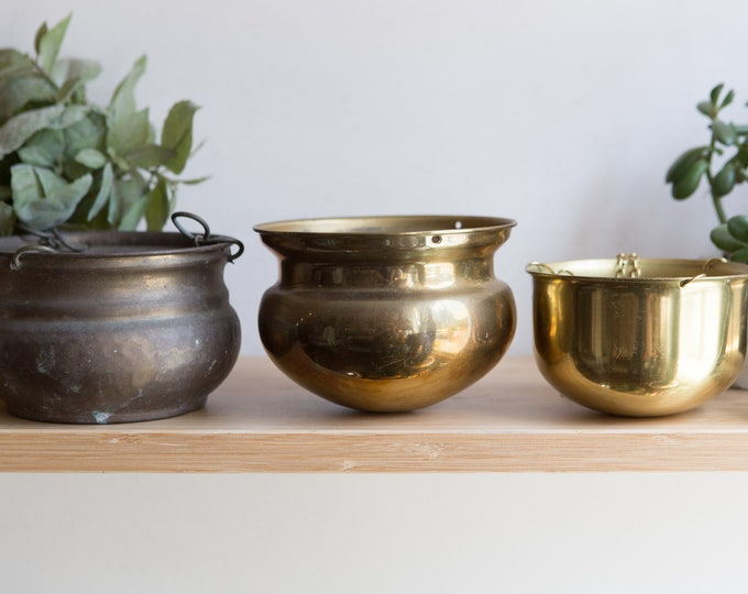 3 Vintage Brass Planters - Round Metal Brass Hanging Pots for Succulents, Cactus, Plants, Herbs, etc - Gold Coloured Bowl Saucer Shape