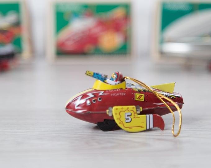 Vintage Schylling Ornaments - Tin Toy Christmas Tree Decor - Ocean Liner, Rocket Fighter, Zeppelin  - Kids Children Present