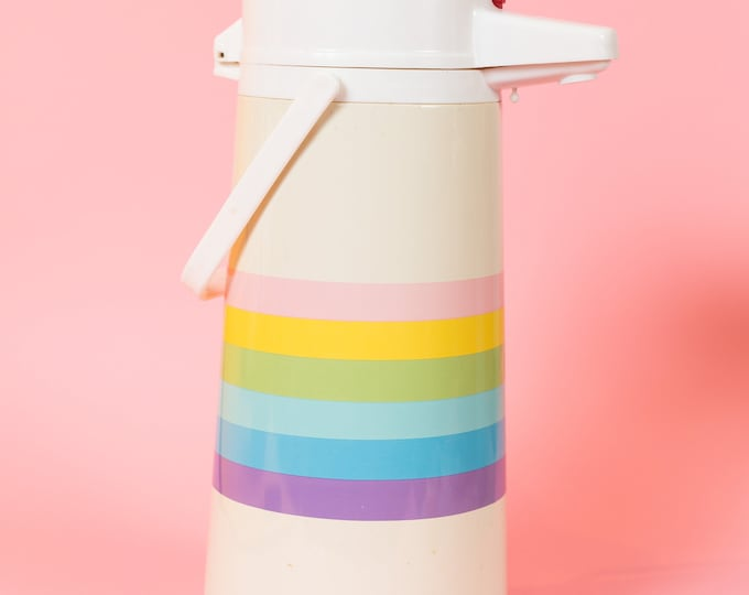Vintage Thermos Beverage Dispenser - 1960's Pastel Rainbow Theme Pop Art Colorful My Little Pony Pump Thermos