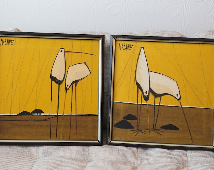 2 Original Oil Paintings of Birds with Yellow Backdrop signed McCaine - Signed Mid Century Modern Painting