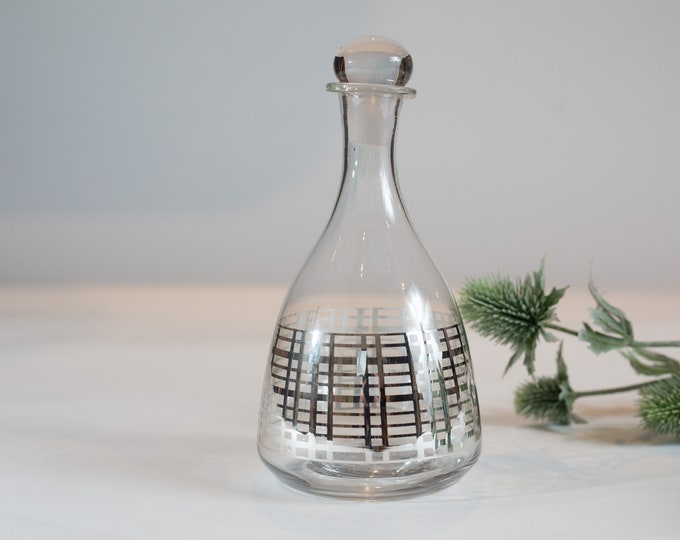 Vintage Glass Decanter with Silver or Platinum Geometric Rectangular Criss Cross Window frame Pattern  - Made Men Glass Decanter Barware