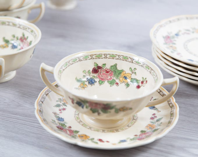 Vintage Floral Soup Bowls- 6 Set of 1940's Royal Doulton The Cavendish Ornate Flower Ceramic Creamy White Antique Dishware - Made in England