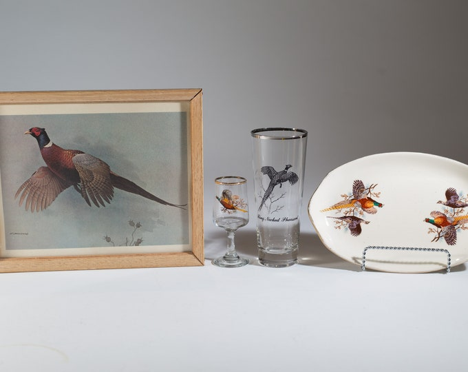 Vintage Pheasant Glasses, Plate, and Lithograph - Collectible Flying Bird Motif Cocktail Glasses - 1960's American Barware with Flying Birds