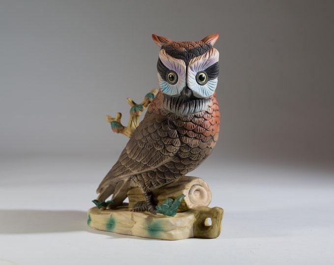 Vintage Ceramic Owl Cookie - Hand Painted Ceramic Brown Owl on Branch