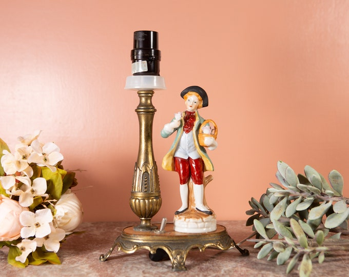 Figural Bedside Lamp - Cottagecore Aesthetic Victorian Style Accent Table Lamp - Florentine Style Lamp with Ceramic Male Figure