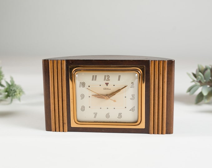 Vintage Electric Clock - Wood and Brass Telechron Art Decor Mantle Clock - Made in USA