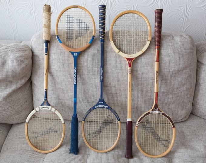 Vintage Wood Squash Racquets - Set of 5 Wooden Rackets - Retro Sports Decor - Girls or Boys Room - Slazenger, Donnay Cambridge Craftsmen