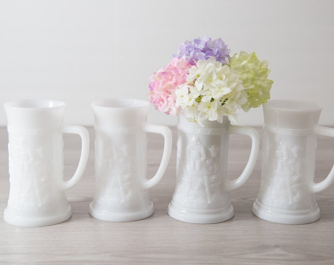 6 Milk Glass Mugs / Vintage German Beer Mugs / Set of 4 White Federal Glass Ale Stein / White Flower Vase / Straw Holder