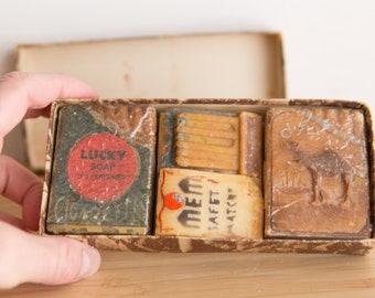 Vintage Lucky Soap Bar Set - Made in Austria - Hand Painted Soap Novelties - Camel Cigarette Soap - Antique Perfumed Soap