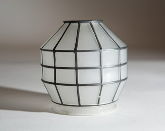 Vintage Glass Shade -Translucent Frosted Geometric Spherical Caged Glass Pendant Chandelier Shade