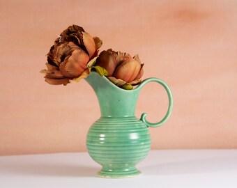 40's Art Deco Jug- Green Colored Vintage Flower Ceramic 1980's Vase -Crown Devon Minimalist Decor - Golden Girls Aesthetic - American Kitsch