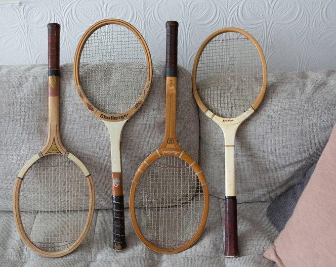 Vintage Wood Tennis Racquets - Set of 4 Wooden Rackets - Retro Sports Wall Decor - Boys Room - Cooper Tournament Racket - Dunlop, Challenger