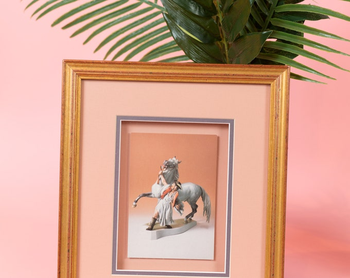Vintage Framed photo of man with horse - millennial blush Pink and Gold Framed Artwork - 4x6 photography
