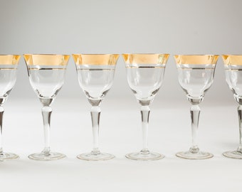 6 Wine Glasses - Gold Banded Vintage Apéritif Cocktail Glasses - Gold Rimmed Hollywood Regency Barware - New Years Party
