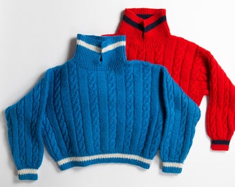 2 Kids Knit Sweaters - Vintage Hand-knit Cable Knit Red and Blue Retro Girls / Boys Handmade Preppy Christmas Holiday Jumpers with Buttons