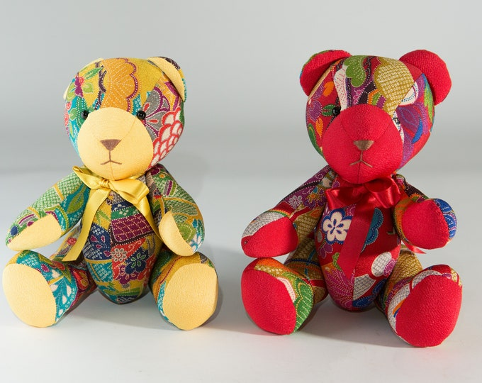 Quilt Teddy Bears / Asian Japanese Kimono Influence Patchwork Teddy Bears - Vintage Teddy Bear Figurines - Collectible Kids Room Decor