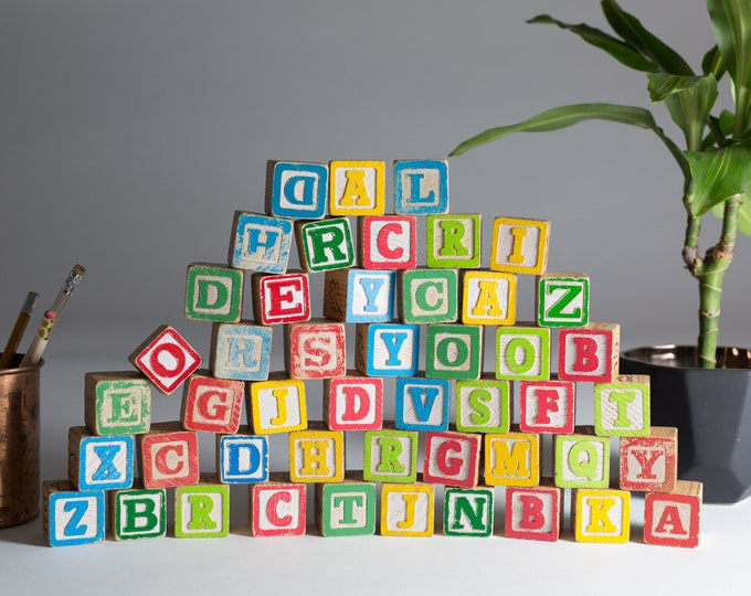 Vintage Wood Letter Blocks - 47 Piece Wooden Colourful Vintage Double Sided Square Kids Toys - Spelling Game