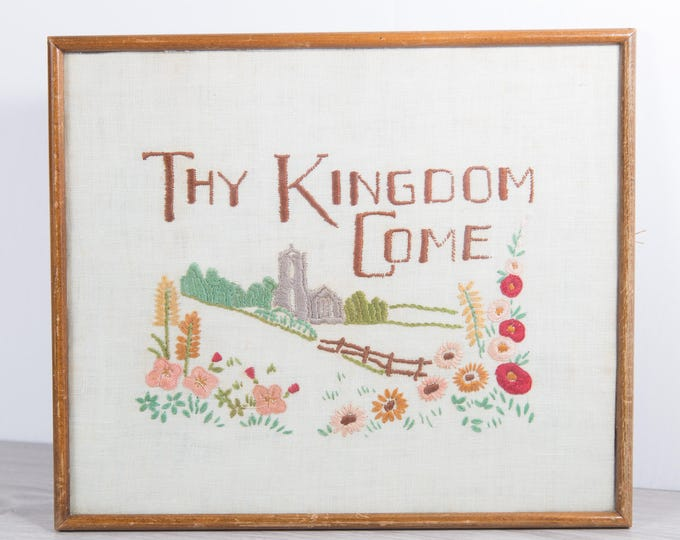 UNFRAMED Biblical Artwork - Framed Embroidered Cross Stitch Thy Kingdom Come Fabric Art Tapestry with Church and Flowers - Jesus The Bible