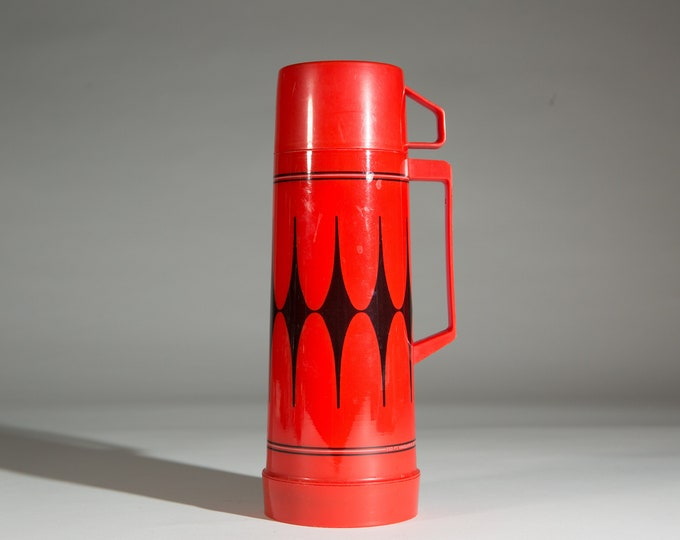 vintage thermos vacuum bottle - Red Aladdin Glass Lined Vacuum Geometric Flask Coffee Thermos - Camping Travel Hot Chocolate Travel Mug