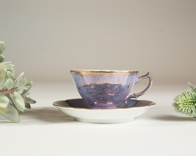 Vintage Bone China Teacup - Castle China Iridescent Purple Tea cup and Saucer with Gold Floral Flower Pattern- Made in England