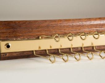 Vintage Tie Rack / Necktie Display Hooks / Mens Retro Belt Hanger / Wood and Brass Tie Display / Holds 12 Neckties