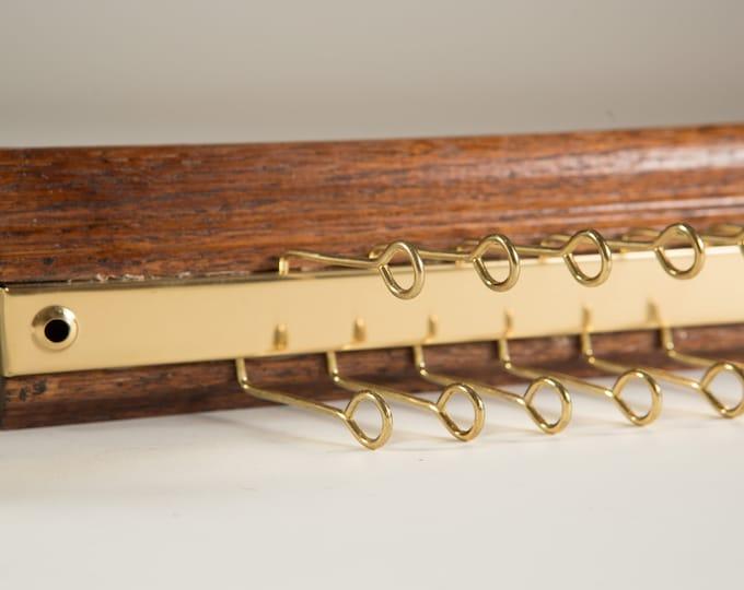 Vintage Tie Rack / Necktie Display Hooks / Mens Retro Belt Hanger / Wood and Brass Tie Display / Holds 36 Neckties