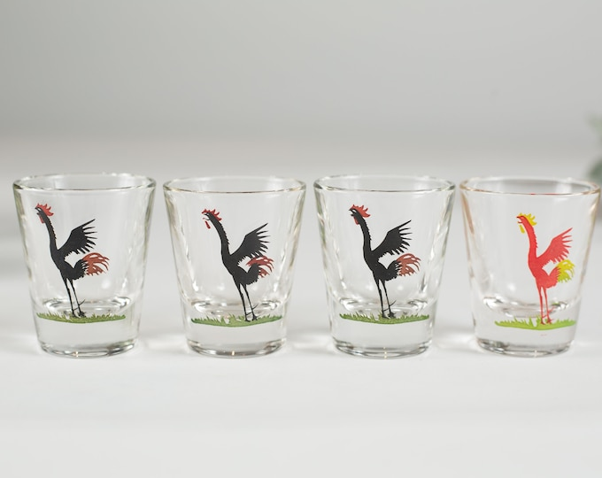 Vintage Rooster Shot Glasses - Set of 4 Game Bird Glass -  Black and Red Design