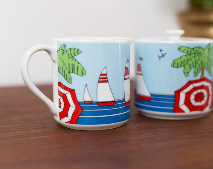 Vintage Sugar and Creamer Set - Beach Scene with Umbrellas, Sailboats, Ocean, Trees - Red White Green and Blue -Stamped Amram's 1985 Japan