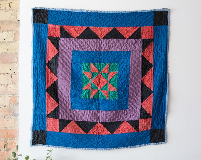 Vintage Quilt - Hand-sewn Fabric Blanket - Large Quilted Geometric Starburst Diamond Pyramid Black Blanket with Mismatched Patchwork