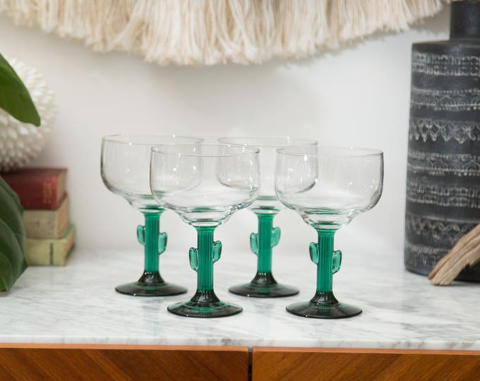 Vintage Cactus Margarita Glasses - Southwestern Mexican Green Stem Cactus Shape Cocktail Glasses