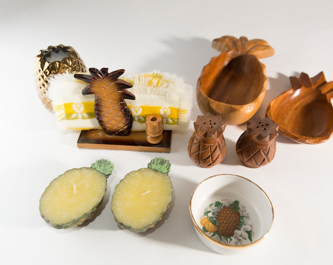 Vintage Pineapple Decor - Wood Pineapple Snack Bowls, Candles, Ceramic Dish, Salt and Pepper Shakers, Napkin Holders, and Linens - Hawaiian