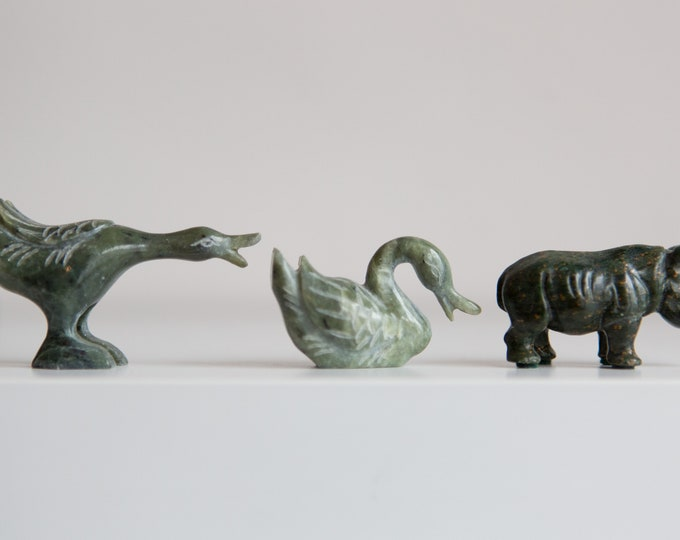 Chinese Jade Miniatures - Set of Green Marbled Asian Jade Ducks, rhinoceros and Emperor Man With Staff Figurines