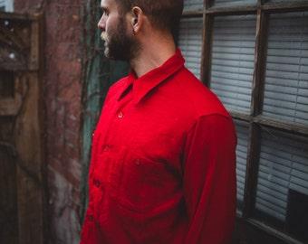 Vintage Men's Country Pendleton / Christmas Red Woolen Mills Pure Virgin Bright Christmas Red Wool Shirt / Outdoors Sportswear Portland