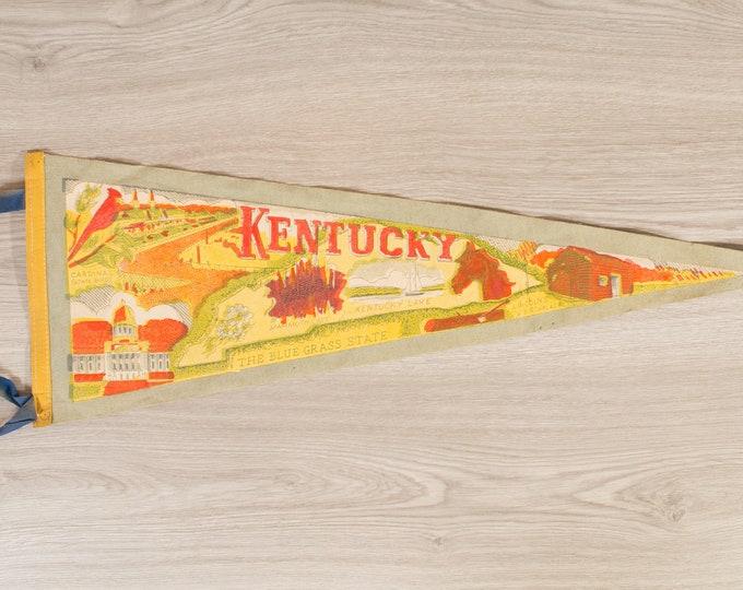 Kentucky Pennant - Vintage Felt Souvenir Hanging Triangle Shaped Wall Decor - Boys Room Wall Hanging