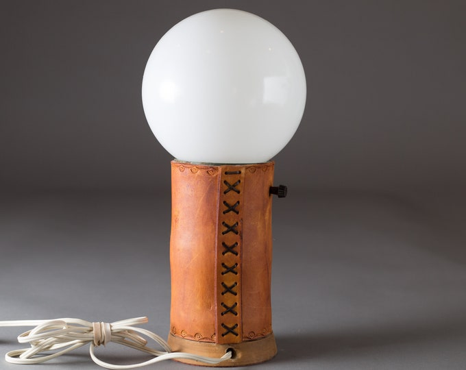 Vintage Leather Boho Lamp with White Glass Spherical Ball Shade - Bohemian Arts and Crafts Bedside Table Lamp for Kids Room or Nursery
