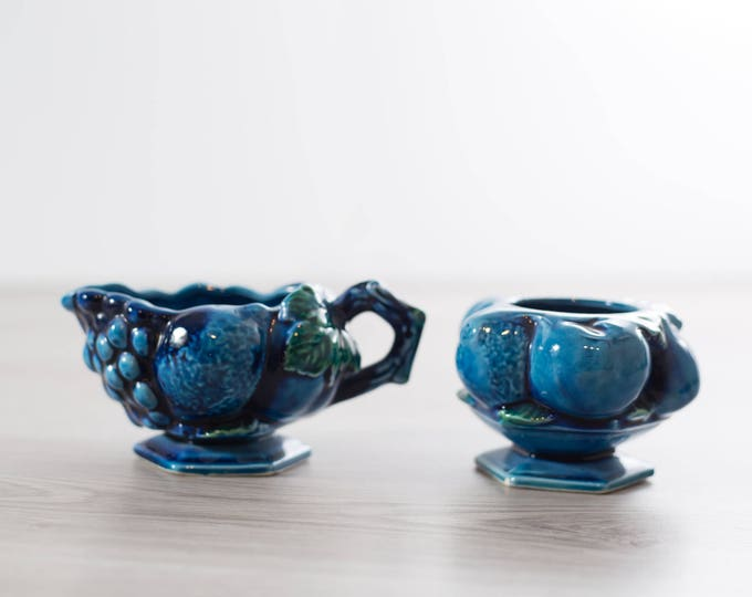 Vintage Inarco Mood Indigo Blue Ceramic Creamer and Sugar / Retro Blue Fruit Coffee Serving Bowls