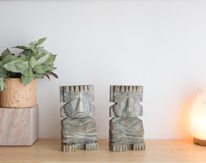 Vintage Stone Bookends - Mayan / Aztec / South American Indigenous Marbled Grey Tribal Bookends - Heavy Book End Statues