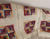 3 Vintage Pillow Covers - Log Cabin Pillow Case DIY - 12 quot -16 quot Boho Red Geometric Decorative Throw Pillows - Bohemian Gypsy Christmas