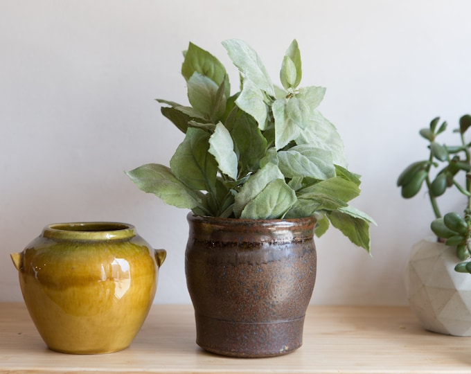 Handmade Ceramic Pots - Mustard and Brown Glaze Vintage Boho Planters - Studio Pottery Earthtone Art