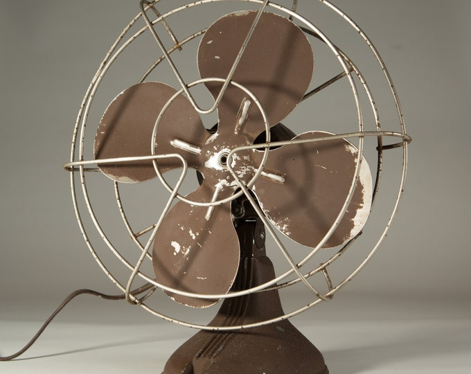 Vintage Metal Fan - Minimalist Retro Industrial Brown Coloured Electric Motorized Fan