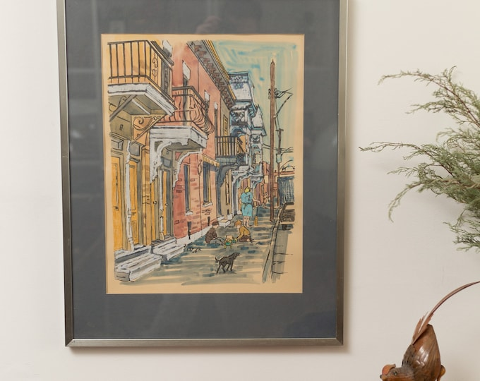 Vintage Watercolour Painting by Valerie 1974 - Street Scene Muted Artwork