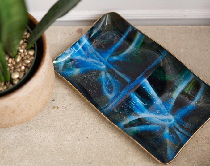 Blue Enamel Dish - Vintage Art Plate - Seetusee Enameled Glass - Blue Green Abstract Swirl Design - Portage La Prairie - Mid Century Modern